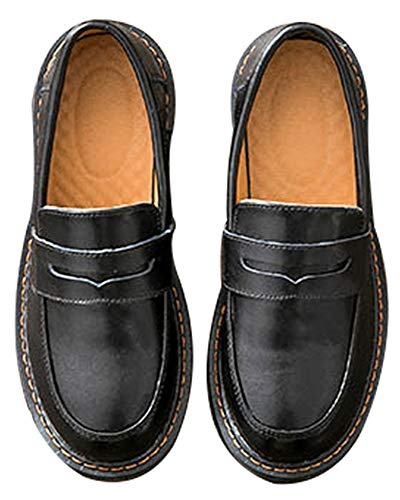 Women's Casual Genuine Leather Penny Loafers Driving Moccasins Slip-On Boat Flats Shoes (US 7.5, Black Style1)