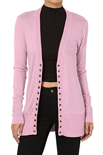 TheMogan Women's Snap Button V-Neck Long Sleeve Knit Cardigan Mauve L -