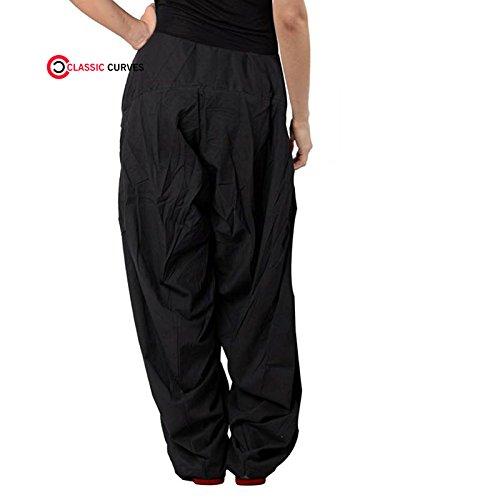 CLASSIC CURVES Indians Women's Patiala Salwar Lycra Baggy Black Trouser Free Size Salwar (Kameez Trouser)
