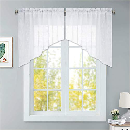 RYB HOME Short Kitchen Curtains and Valances Set, Privacy White Linen Sheer Swag Curtains for Windows Home Decor, Semi Sheer Bathroom Curtains Tiers for Small Window, Wide 36 x Long 36-inch, One Pair