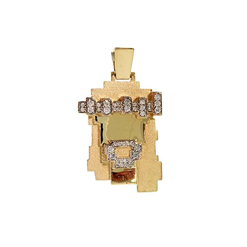 Genuine Round Cut Diamond 14K Solid Yellow Gold Hip Hop Lego Style Jesus Piece Charm Pendant by Traxnyc