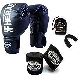 Kit Boxe Muay Thai - Luva + Bandagem + Bucal Preto - Fheras