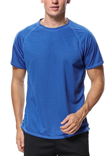 - ATTRACO Men UPF 50 UV Sun Protection Performance Fishing Shirt Short Sleeve Rash Guard Navy Large