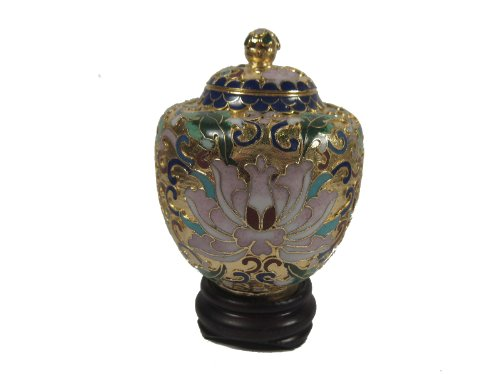 Cloisonne Jar (Cloisonne Jar and Wood Stand)