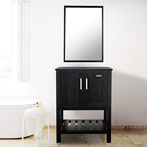 24″ White Bathroom Vanity Modern Pedestal Cabinet