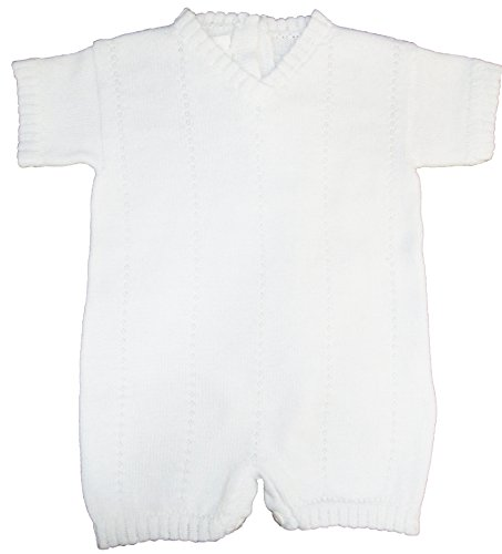 White V-Neck Romper 100% Cotton Boy's Christening Baptism Knit 12 Month