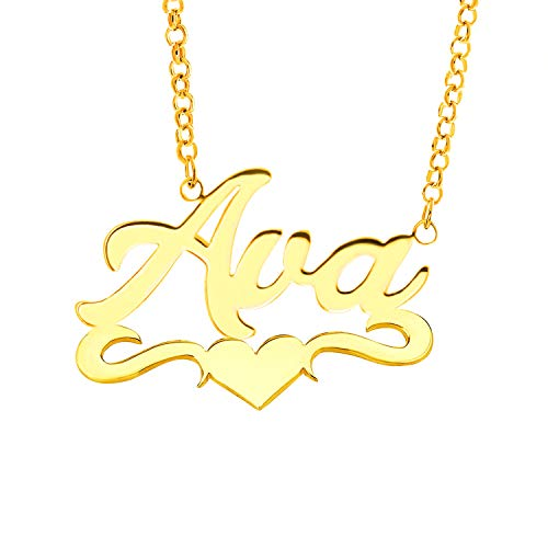 - Lovmer Personalized Gold Name Necklace Heart Pendant Necklace (Ava)