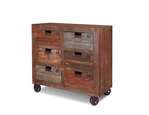 (Industrial Rustic Solid Wood 6 Drawer Numbered Console Dresser Chest of Drawers Sideboard On Wheels)