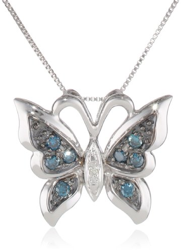 10k White Gold Ocean Irradiated and White Diamond Butterfly Pendant (1/8 cttw, I-J Color, I1-I2 Clarity), 18″