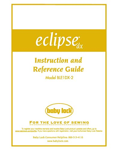 Baby Lock EclipseDX BLE1DX-2 Serger Instruction Manual Reprint