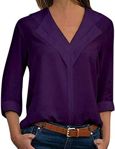 Hauts Grande Femme lgant Soie T Shirts Tunique Col Mousseline Casual Chemisier de V Tee Taille Longue Chemise Chic Manche Tops Violet Blouse UqpwdFwz