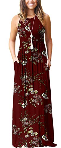 GRECERELLE Women's Casual Loose Long Dress Sleeveless Floral Print Maxi Dresses with Pockets Wine Red-XS
