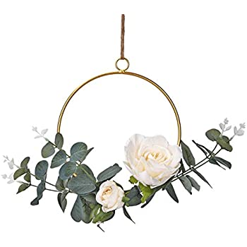 Dolicer Floral Hoop Wreath, Geometric Wire Round Triangle Square Hoop Frame of Artificial Rose Flower and Eucalyptus Vine Wreath for Wedding Backdrop Wall Decor Geometric Wire Wall Decor, Pack of 1