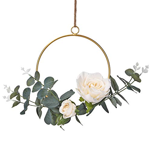 Dolicer Floral Hoop Wreath, Geometric Wire Round Triangle Square Hoop Frame of Artificial Rose Flower and Eucalyptus Vine Wreath for Wedding Backdrop Wall Decor Geometric Wire Wall Decor, Pack of 1 (Wreath White Flower)