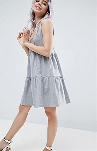 Moda Sin Mangas Fruncido Frunces Pliegues Plisado Cordón Cordones Lazada Espalda Tank Camiseta de Tirantes Camisola Minivestido Mini de Corte de Vuelo Trapecioe Maternidad Dress Vestido Gris