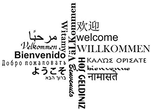 Wall Vinyl Decal Mile Quotes Multilingual Welcome Letters Removable Family for Living Room Bedroom Vinyl Decor Sticker Home Art Print TT10243