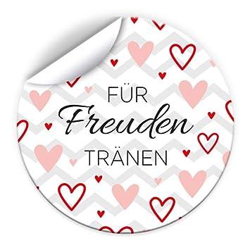 Junaversum Freudentr/änen 100 Aufkleber f/ür Verpackung von Taschent/ücher//Sticker Hochzeit