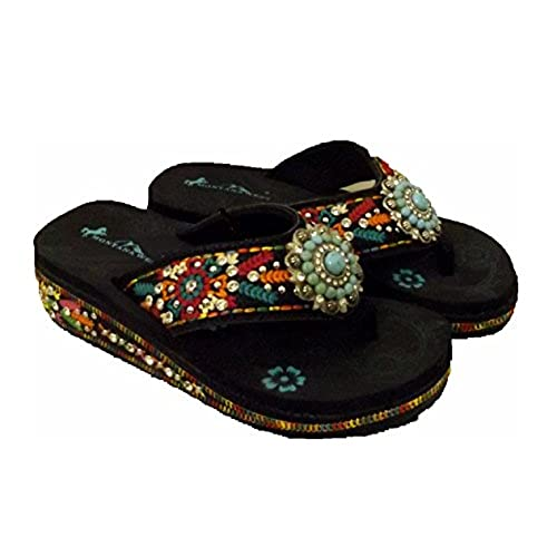 30c5fbec765265 Montana West Turquoise Concho Aztec Hippy Flip Flops Sandals Shoes  well-wreapped