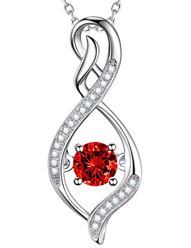 "GinoMay Valentines Day Gift Red Garnet Necklace""Infinity Forever Love""Jewellery Sterling Silver Swarovski Birthday Gift for Women with Elegant Gift Box,Allergen-free,45+5cm Extender"