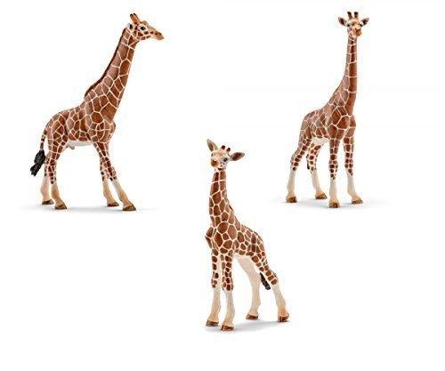 Schleich Giraffe Family Toy Figures Set - Male, Female, and Calf Figurines (Female Giraffe)