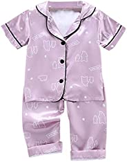 2PCS Girls Outfits, Toddler Baby Boy Girl Short Sleeve Cartoon Tops+Pants Pajamas Sleepwear Outfits for 1-5 Ye
