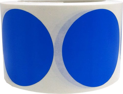 "Blue Color Coding Dot Labels 3"" Inch Round - 500 Colored Circle Inventory Stickers Per Roll"