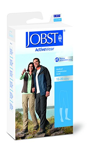BSN Medical 110532 JOBST Compression Sock with Closed Toe, Knee High, Full Calf, X-Large, 15-20 mmHG, Cool Black