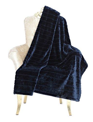 "Bertte Ultra Velvet Plush Super Soft Decorative Stripe Throw Twin Size Bed Blanket- 60""x 80"", Navy"