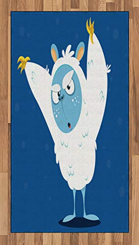 Ambesonne Bigfoot Area Rug, Wild Scary Yeti Costume for Halloween with Fluffy Fur Fantastic Cartoon Monster, Flat Woven Accent Rug for Living Room Bedroom Dining Room, 2.6 x 5 FT, Multicolor ()