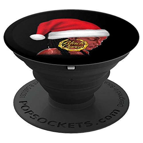 Black Girl Magic Christmas Shirt Santa Hat Queen Old School - PopSockets Grip and Stand for Phones and Tablets