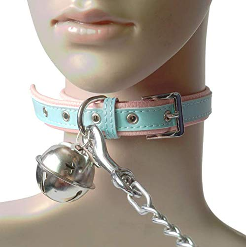WHUANZ Big Bell Collar with Leash Dog Slave Alternative Toy Tool (Erotic Leash Collar And)