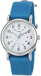 """Timex Women's T2P2279J """"Weekender"""" Silver-Tone Watch with Blue Nylon Band"""