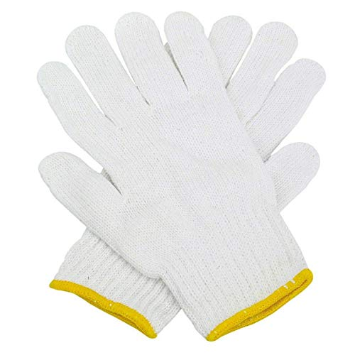 Safety Grip Protection Knit Cotton Gloves For Light To Medium Duty Work White-One Size Large (10) ()