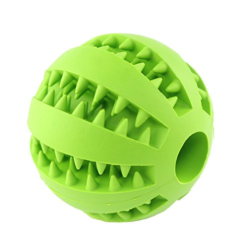 QINUKER Toy Ball for Dogs, Durable Non-Toxic Strong Tooth Dog Toy Balls for Pet Cleaning/Chewing/Playing, IQ Treat Soft Rubber Ball Size 2.8 (Green)