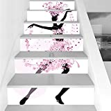 Stair Stickers Wall Stickers,6 PCS Self-adhesive,Latin,Silhouette of a Woman Dancing Samba Salsa Latin Dances Spain and Mexico Culture Print Decorative,Pink Black,Stair Riser Decal for Living Room, Ha