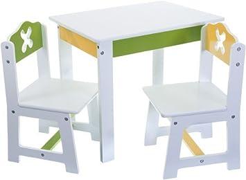 3 Tlg Set Sitzgruppe Für Kinder Aus Sehr Stabilen Holz Weiß