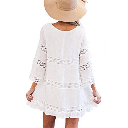 Mini Dress Pizzo Spiaggia BiancoXl Bohemien Gonna Estate Sciolto Breve Lungo Boho ManicaLe Vestito DonnaDonne Ginli MzSUpGqV
