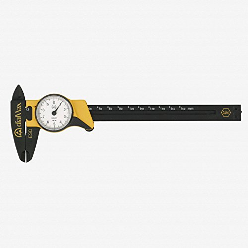 "Wiha 41106 ESD Safe Dial Calipers, Metric, 6"" Length"