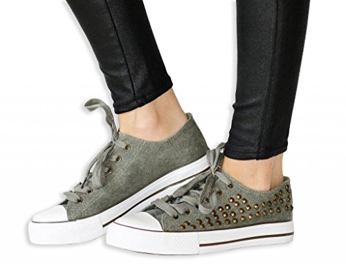 Twisted Women's KIX Lo-Top Lace Up Fashion Sneaker - OLIVE, Size 7