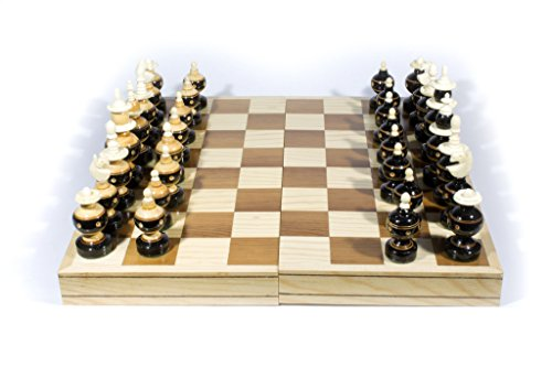 Handmade Chess. Wooden with Bone. Model Bolita. Foldable Board: 13.78 x 13.78