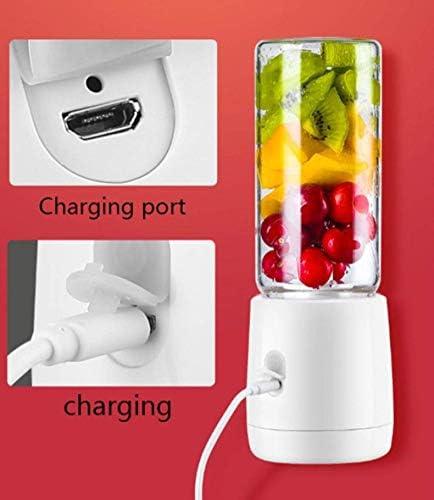 USB exprimidor eléctrico del hogar Frutas Copa Mini Exprimidor Licuadora Mezclador multifuncional de carga USB del hogar del recorrido 400 ml de seis aspas blancas FDWFN