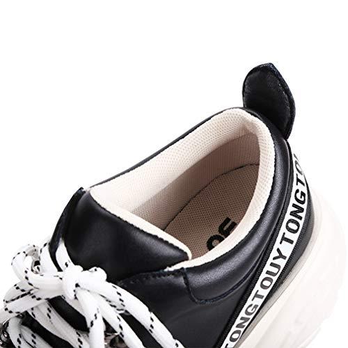 autunno Sneakers Beige Basse Microfibra Casual Yan Stringate Da Alte Bianco Scarpe Piattaforma Invisibili Primavera Donna Nero Un In Ua8X4v