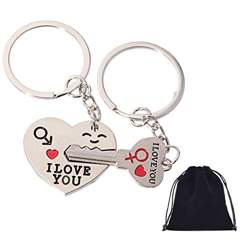 2pcs Couple Key Chain Ring Set-I Love You with Red Heart Keychains Set for Boyfriend and Girlfriend,Valentine's Day Birthday Gifts -Love Heart Key Locks Lover ()