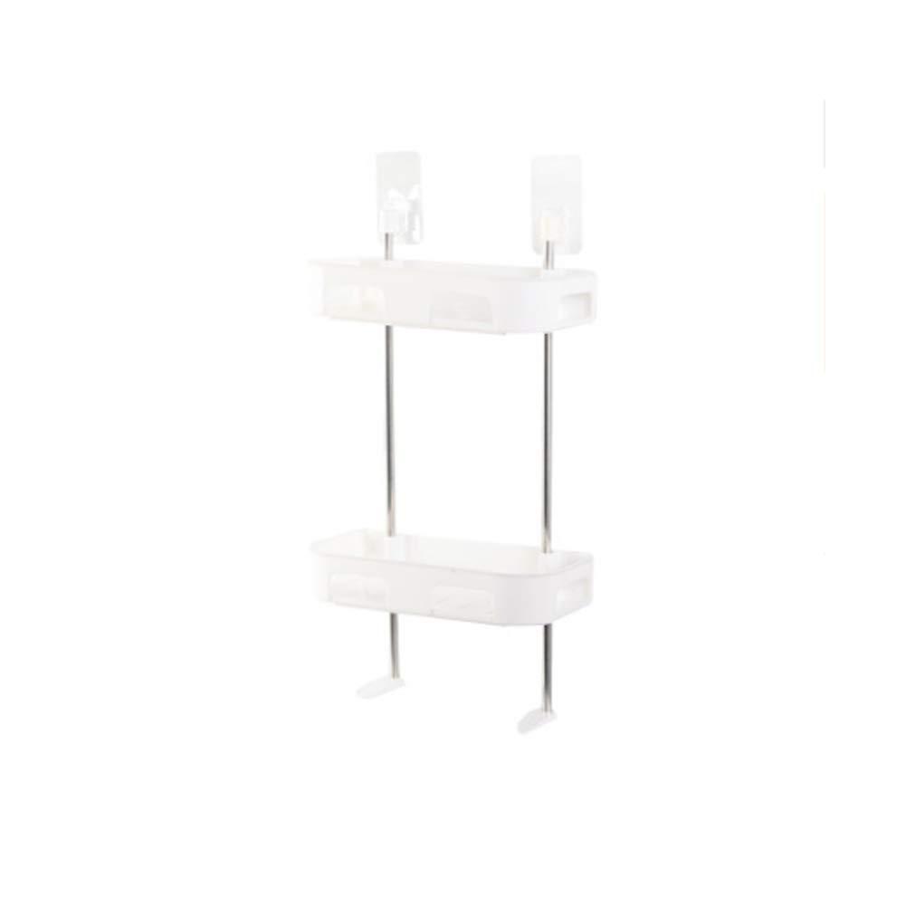 Liitrton Multi-Function Bathroom Toilet Storage Racks Adhesive Kitchen Spice Storage Rack No Drilling (2 Layer, White)