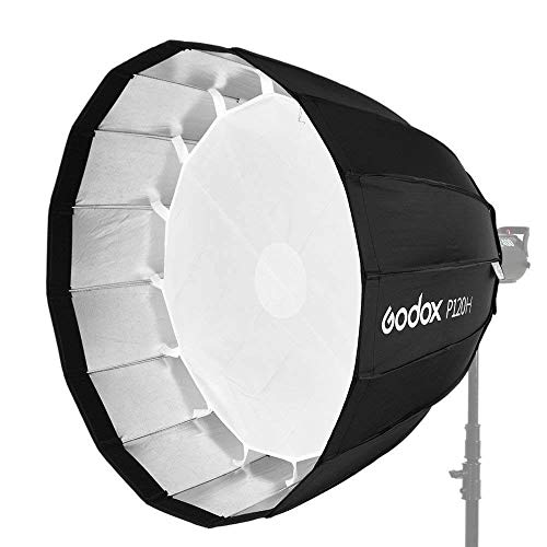 "Godox P120H 48"" Deep Parabolic Softbox for Studio Video Flash Light, Bowens Mount, Hi-Temperature Resistant"
