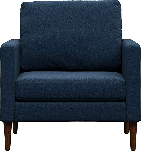 Campaign Steel Frame Brushed Weave Accent Chair, 33 Inches, Midnight Navy with Mahogany Stained Solid Oak Legs