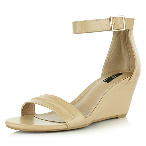 (DailyShoes Women's Summer Fashion Design Ankle Strap Buckle Low Wedge Platform Heel Sandals Shoes, Beige PU, 6 B(M) US)