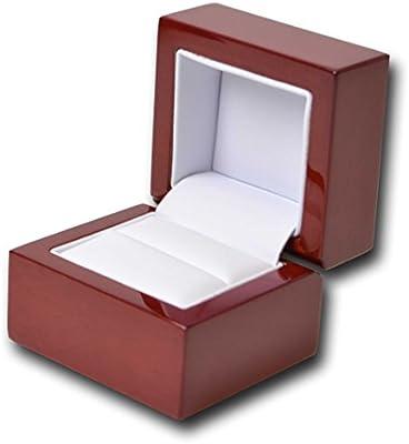 Madera anillo caja negro rojo anillo caja de madera (luz rojo/burdeos con) en cuero sintético blanco: Amazon.es: Hogar