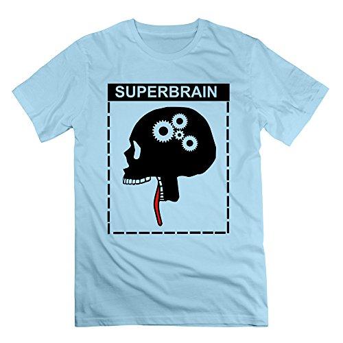Men's Skull Super Brain Short-Sleeve T-shirt SkyBlue XXL (50s Makeup And Hair)