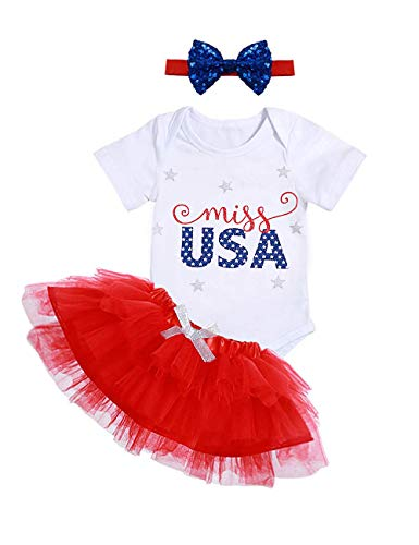 Newborn Baby Girl Clothes Miss USA Printed Bodysuit Bow Tutu Tulle Dress and Headband Skirt Set(6-12 Months) White
